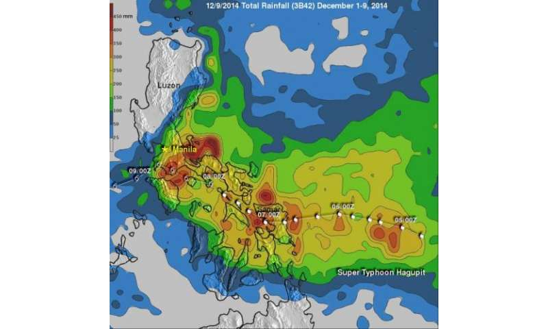 NASA satellite data shows Hagupit dropped almost 19 inches of rainfall