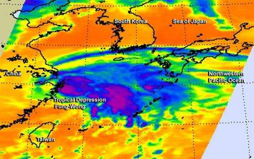 NASA sees Tropical Depression Fung-Wong becoming more frontal