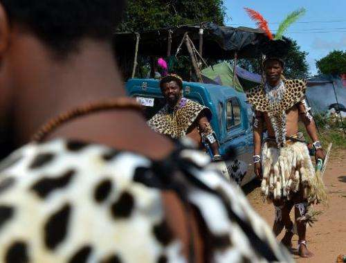 Members of the Shembe Church (Nazareth Baptist Church), a traditionalist Zulu church, seen while on their way to  church in Durb