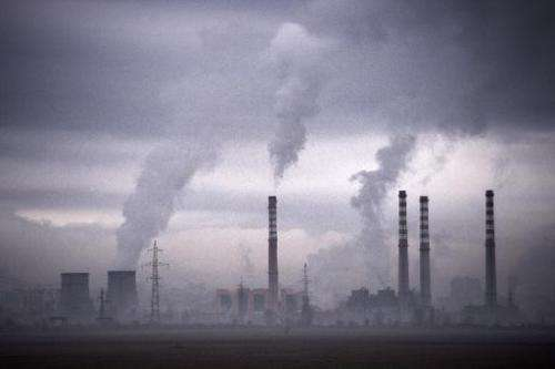 Smoke rises from stacks of a thermal power station in Sofia on February 14, 2013