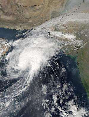 NASA sees Tropical Cyclone Nilofar being affected by wind shear
