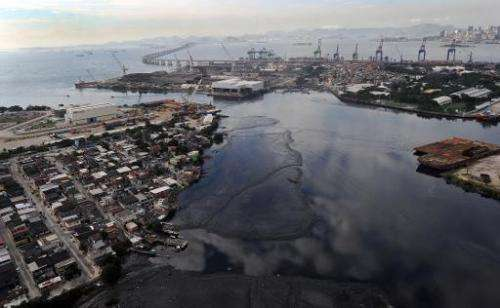 Aerial view of the polluted Caju port area in Guanabara Bay in Rio de Janeiro, Brazil on June 5, 2012