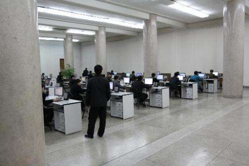 File photo shows students using computers at the Grand People's Study House near Kim Il-Sung Square in Pyongyang, capital of Nor