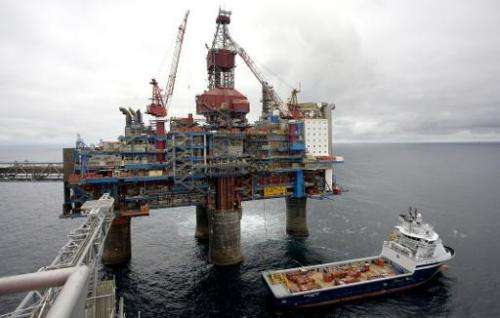 Photo taken on May 15, 2008, shows a gas platform, some 250 kms off Norway's coast in the North Sea
