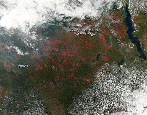 Agricultural fires light up central Africa