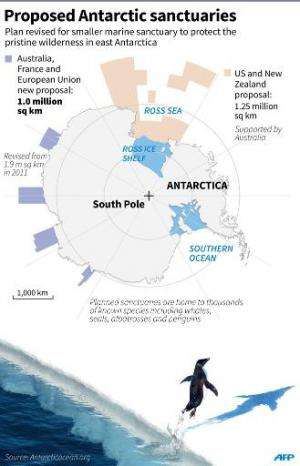 Graphic showing proposed ocean sanctuaries off Antarctica, including a revised plan put forward by Australia, France and the Eur