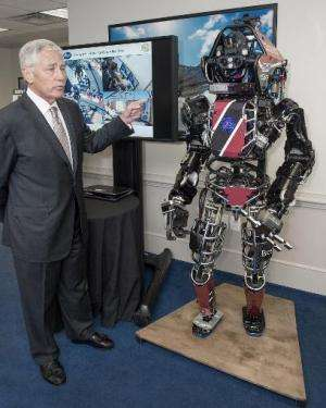 US Secretary of Defense Chuck Hagel is shown the Atlas robot at the Pentagon on April 22, 2014
