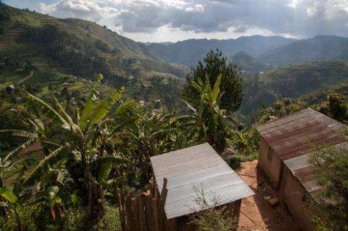 A general view shows habitations near Bwindi Impenetrable National Park, in Uganda, on May 24, 2014, one of the most densely pop