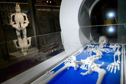 A 3D printed reconstruction of the skeleton of King Richard III in the new visitor's centre on the site where his remains were d