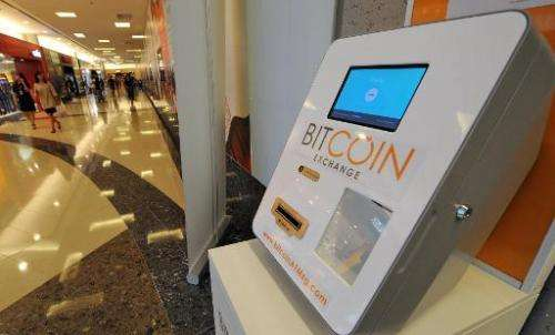 A Bitcoin dispensing machine is seen at a shopping mall in Singapore on March 6, 2014