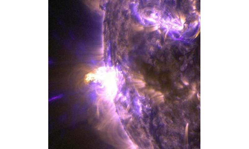 A close-up view of a moderate Sun flare of light on August 24, 2014