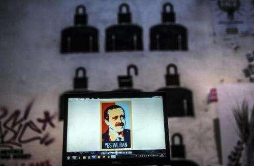 A computer screen shows a digital portrait of Recep Tayyip Erdogan in Istanbul, on March 27, 2014