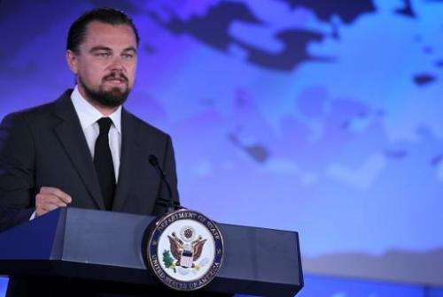"""Actor Leonardo DiCaprio speaks during the second and the final day of the """"Our Ocean"""" conference on June 17, 2014 at t"""