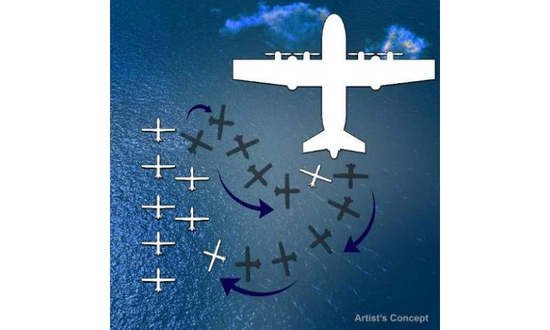 A Defense Advanced Research Projects Agency artist's conception illustrates how a large cargo plane might be able to release dro