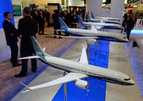 A display of Boeing 737 model planes are exhibited at the Singapore Airshow on February 11, 2014