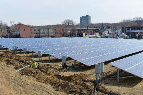 A ground-mounted solar array is shown on March 25, 2014 in Cleveland, Ohio