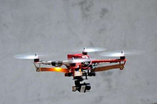 A HEXO+ drone prototype equipped with a GoPro camera  being tested at the headquarters of the start-up Squadrone System in Franc