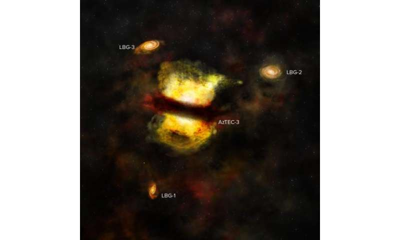 ALMA finds best evidence yet for galactic merger in distant protocluster