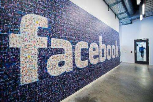 A logo created from pictures of Facebook users worldwide at the company's Data Center, on November 7, 2013 in Lulea