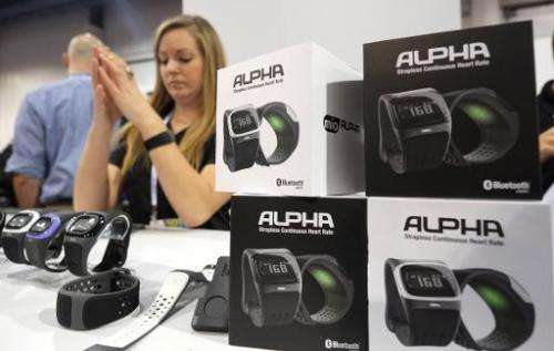 Alpha pulse heart beat measuring watches by MIO shown during the 2014 International CES at the Las Vegas Convention Center on Ja