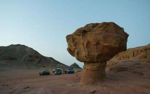 A mushroom-shaped sandstone rock carved by natural forces of wind and water is seen in the Timna valley in the southern Arava re