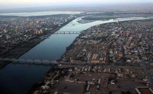 An aerial view shows the Nile river cutting through the Sudanese capital Khartoum on January 13, 2011