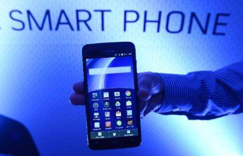 An Android-powered smartphone is seen at a promotional event in New Delhi on July 30, 2014