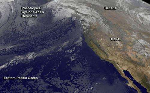Ana's remnants raining and gusting in British Columbia, Canada