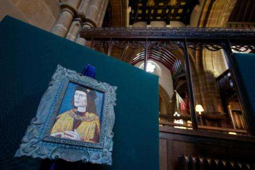 A painting of King Richard III in Leicester Cathedral on February 4, 2013
