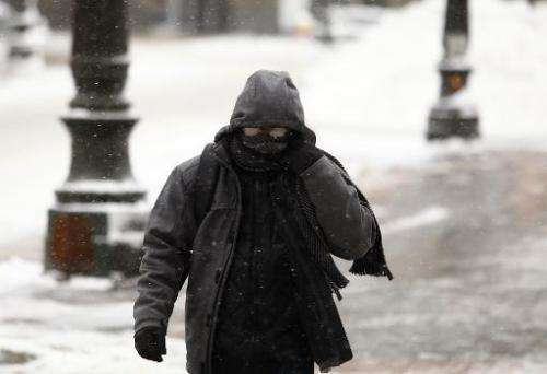 A pedestrian walks along Woodward Avenue in the cold as the area deals with record breaking freezing weather January 6, 2014 in