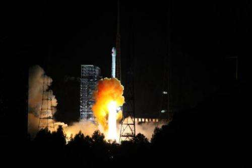 A rocket is launched from Xichang space base in Xichang, southwestern China's Sichuan province, on October 24, 2014