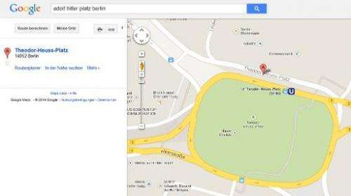 A screenshot made on January 10, 2014 from the Google Maps website shows an online map of Berlin with Theodor Heuss-Plazt Square