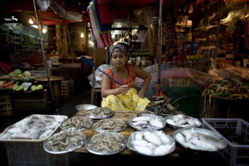 A sea-food vendor waits for customers at a wet market in Manila, the Philippines, on August 28, 2014