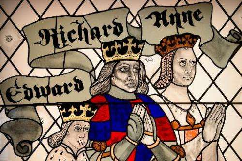 A stained glass window depicting King Richard III and his wife and son is displayed in the new visitor's centre on the site wher