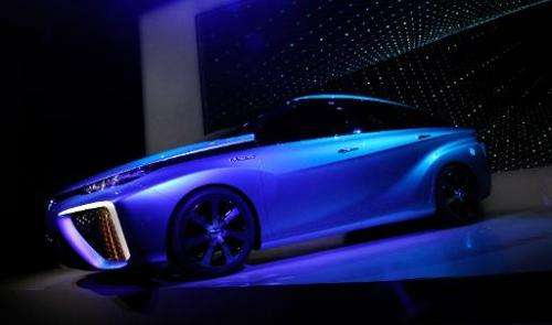 A Toyota fuel cell concept vehicle is displayed during press event at the Mandalay Bay Convention Center for the 2014 Internatio
