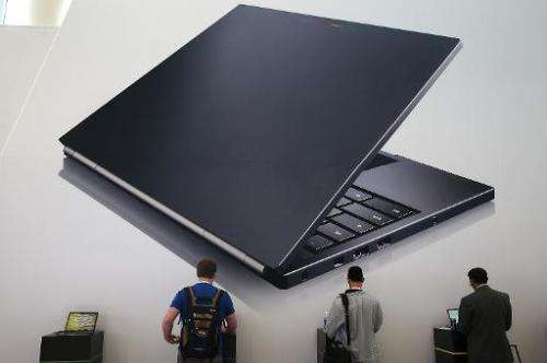 Attendees inspect the Google Chromebook Pixel laptop at the Moscone Center on May 15, 2013 in San Francisco