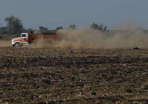 A vehicle raises a large dust cloud as it drives on a parched farm field in Los Banos, California on September 23, 2014