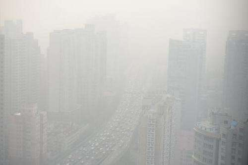 A view of downtown Shanghai shrouded in severe pollution on December 5, 2013
