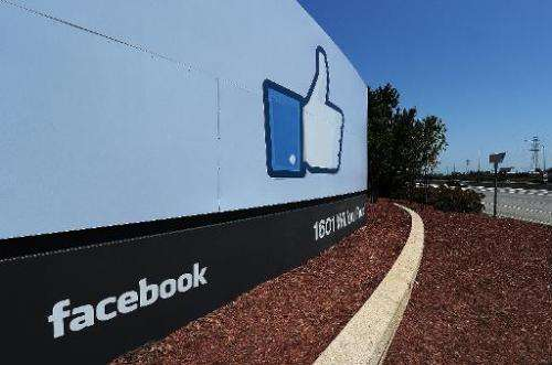 A view of the entrance to the Facebook main campus in Menlo Park, California on May 15, 2012