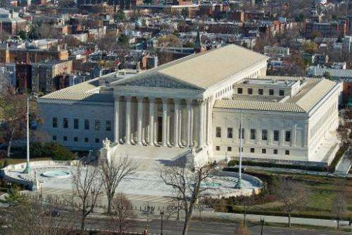 A view of the US Supreme Court seen from the top of the US Capitol dome in this December 19, 2013 in Washington