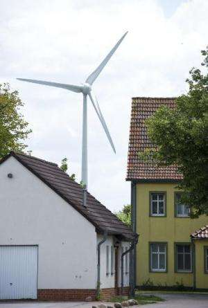 A wind turbine operates in Feldheim
