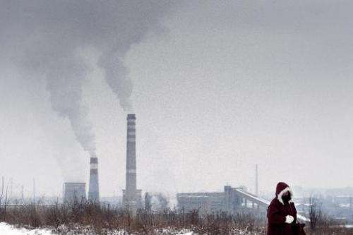 A woman walks as smoke rises from the stacks of a thermal power station in Pernik, Bulgaria, on January 28, 2014