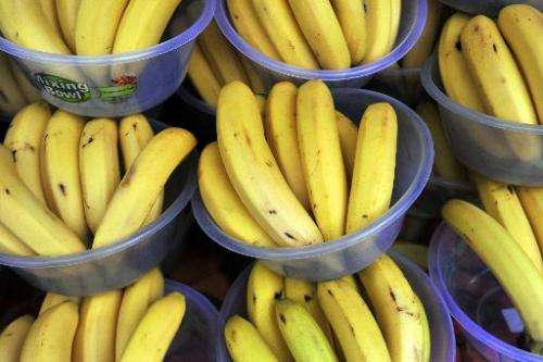 Bananas on sale at a market in London on February 23, 2014