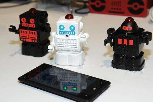 Bluetooth Fighting Mini Robots by European company BeeWi are displayed at CES at the Mandalay Bay Convention Center on January 5