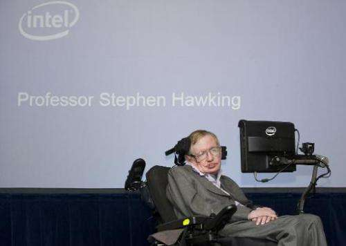 British theoretical physicist and professor Stephen Hawking speaks at an Intel press conference in London on December 2, 2014