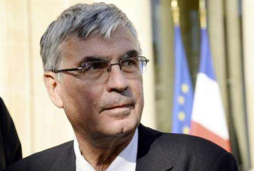 CEO of French rocket and aircraft engine maker Safran Jean-Paul Herteman speaks to the press after a meeting the French Presiden