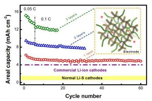 Flexible paper electrodes with ultra-high loading for lithium-sulfur batteries