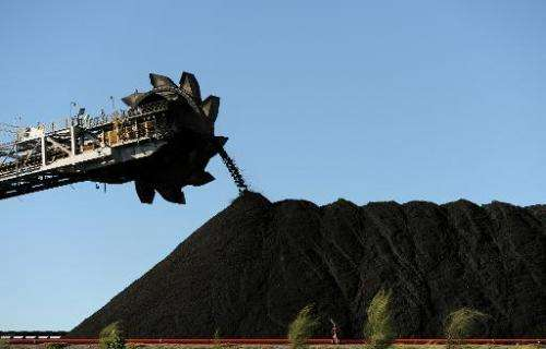 Coal is stockpiled at the coal port of Newcastle in Australia's New South Wales state on April 25, 2012