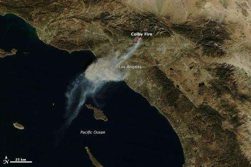 Colby fire near Los Angeles, California