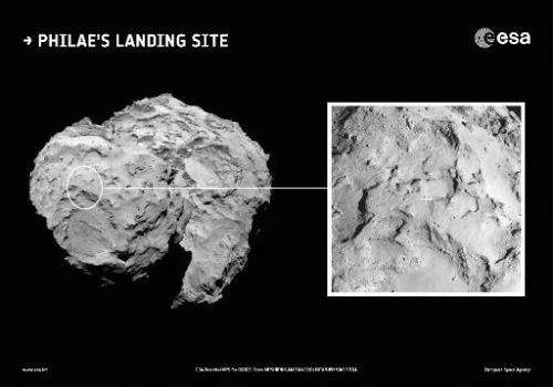 Context image released on September 15, 2014 by the European Space Agency (ESA) showing the primary landing site for Rosetta''s
